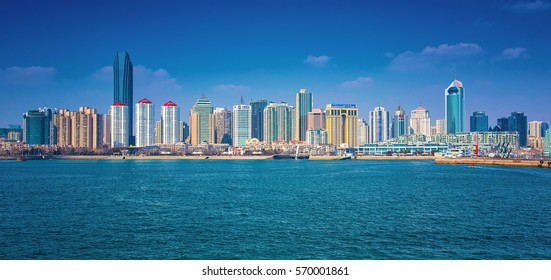 QINGDAO, CHINA - 25 MARCH, 2016: Beautiful view of the horizon and sailingarbor of Qingdao, China on 25 March, 2016.