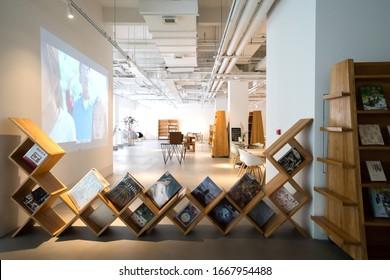 Qingdao, China - August 15, 2019: Coffee Bookstore, a coffee bookstore in Qingdao Art Center, China.