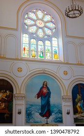 Qingdao / China - August 5th 2015: St. Michael's Cathedral (Kathedrale St. Michael), a Catholic church built by German missionaries, in Qingdao (Tsingtao), Shandong Province, China