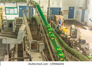 Qingdao / China - August 6th 2015: Tsingtao Beer production line, Tsingtao Beer Brewery, Qingdao, Shandong Province, China
