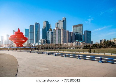 Qingdao city center building landscape and road