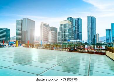 Qingdao city center square building landscape and urban skyline