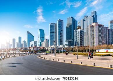 Qingdao city centre building landscape and road pavement