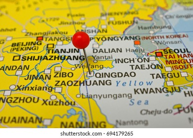 Qingdao marked on map with red pin, China