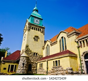 Qingdao, Shandong/china-5/11/2019: the tower side of the Christian Church of Qingdao built by Germany a missionary