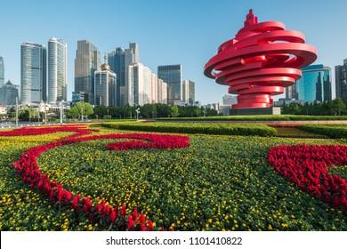 qingdao,shandong / china - MAY 26 2018 : Qingdao city landscape, shandong province, China