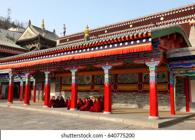 "Qinghai, China - Aug 26, 2009 : monks of Kumbum Monastery, also called ""Little Tower Temple"" or ""Ta'er Temple"""