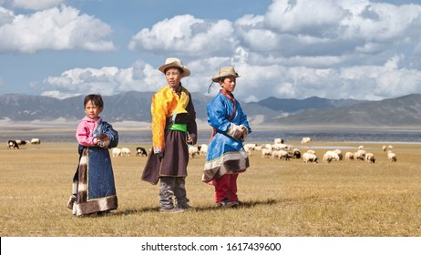 QINGHAI-CHINA, SEPT. 9, 2011. Traditional dressed Tibetan children. Tibetans constitute fifth of Qinghai population. There are over 37 recognized ethnic groups among Qinghai's 5.2 million population.