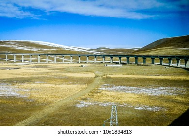 Qinghai-Tibet railway line, elevated above the icy permafrost of the Tibetan plateau near Lhasa