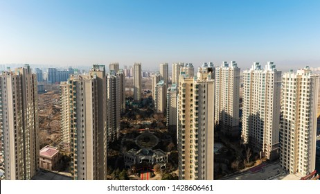 Qinhuangdao - China - February 1, 2019: New Commercial Residential Quarter in Qinhuangdao City, Street View of the City.