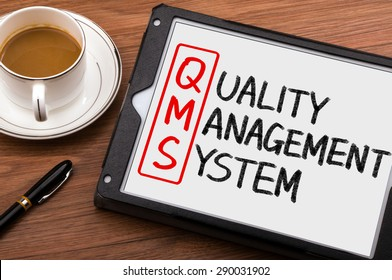 qms concept:quality management system on tablet pc