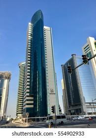 QNA, Doha, Qatar - 2nd January 2017: Qatar news agency building in downtown Doha, view of financial district and beautiful modern skyline of Doha