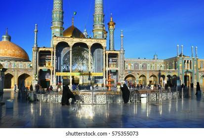 QOM, IRAN - JAN 07: Beautiful view of Fatima Masumeh (Al-Masumah) Shrine, Masjid Azam Mosque and pilgrims on January 7, 2017 in Qum (Komb, Koama) - the holy city for Shia Muslims, Iran, Middle East