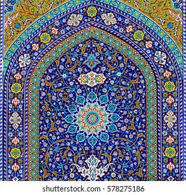 QOM/IRAN - JAN 07: Beautiful rich floral decoration in Ancient Fatima Masumeh Shrine and Masjid Azam Mosque on January 7, 2017 in Qum - the holy city for Shia Muslims, Iran (Persia), Middle East