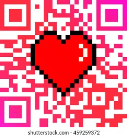 "QR code with encoded ""LOVE"" caption and 8 bit pixel heart Valentines Day card"