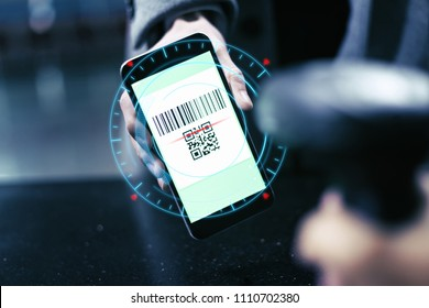 Qr code payment , online shopping , cashless technology concept