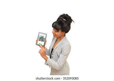 QR Code symbol on tablet woman pressing save icon on screen isolated on white background