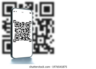 Qr code technology. Mobile smartphone screen for payment, online pay, scan barcode technology with qr code scanner on digital smart phone. Hands using mobile phone application to scan code
