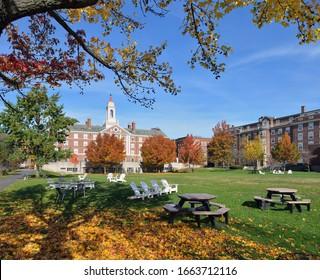 The Quad, Harvard University. College campus in the fall.