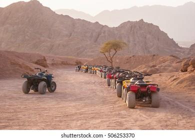 Quad motorbike safari in Sinai desert, Sharm el Sheikh, Egypt