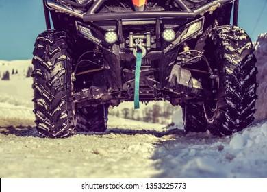 quad on snow detail