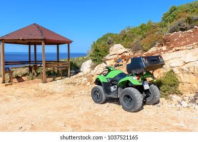 Quad parked on coast of Zakynthos. Zante, Greece