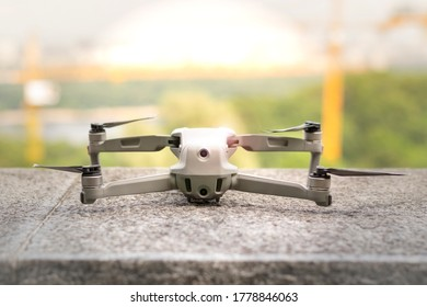 Quadcopter with camera. Aircraft. Drone. A small unmanned quadcopter is standing.