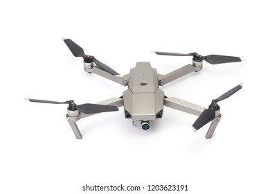 Quadcopter camera drone isolate on white background