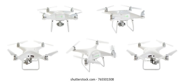Quadcopter Drones Set 1 of 2 Isolated on White.