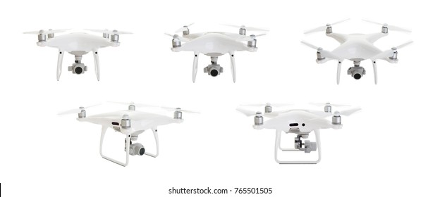 Quadcopter Drones Set 2 of 2 Isolated on White.