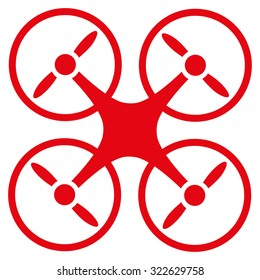 Quadcopter glyph icon. Style is flat symbol, red color, rounded angles, white background.