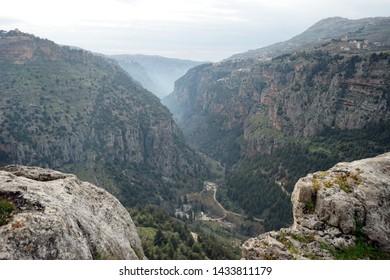 Quadisha valley and rocks in Lebanon
