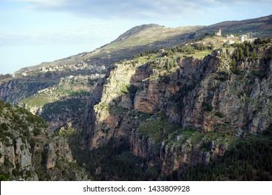 Quadisha valley with shadow in Lebanon