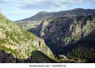 Quadisha valley with shadows in Lebanon