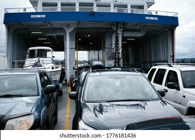 Quadra Island, Canada - July 3, 2020: Small BC Ferries car deck heading towards Cortes Island.