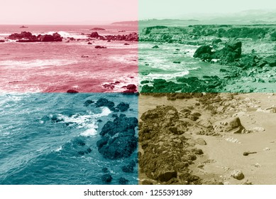 Quadrant colors seascape of rocky shoreline with breaking waves. Colors blue, red, green, and sepia.