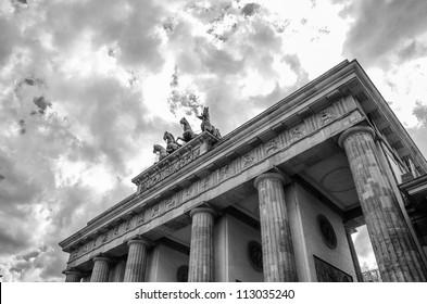Quadriga sculpture on top of Berlin Brandenburg Gate, Germany