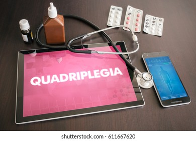 Quadriplegia (neurological disorder) diagnosis medical concept on tablet screen with stethoscope.