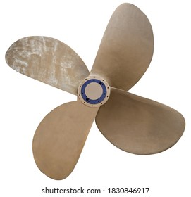 Quadruple bronze propeller isolated on a white background