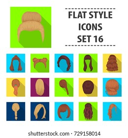 Quads, blond braids and other types of hairstyles. Back hairstyle set collection icons in flat style bitmap, raster symbol stock illustration web.