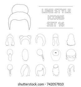 Quads, blond braids and other types of hairstyles. Back hairstyle set collection icons in outline style bitmap,raster symbol stock illustration web.