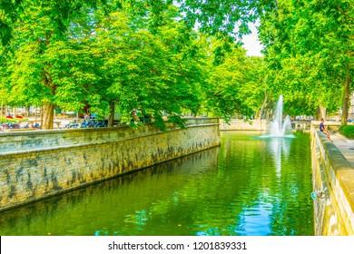 Quai de la fontaine in Nimes, France