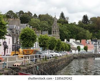 Quai Street and harbor at Portree Scotland Isle of Skye. UK Great Britain. 12th June 2011
