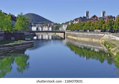 The Quai Vauban,  the Pont Battant over the Doubs River and the Quai Veil Picard in Besançon, France