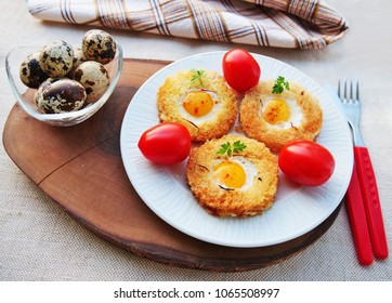 Quail egg toast, egg in a basket with quail eggs, saffron and cherry tomatoes