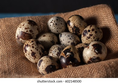 Quail eggs in bag in hay and an old tree branch. Old rustic wooden background Happy easter