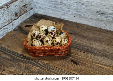 Quail eggs in the basket - Easter composition.Easter Tradition