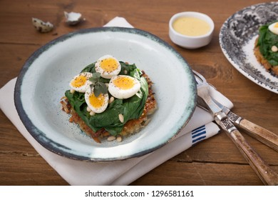 Quail Eggs florentine with spinach and rosti