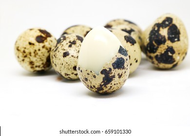Quail eggs isolated on white background.  Quail eggs has high level of vitamin A and B2