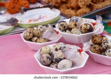 Quail eggs at street food